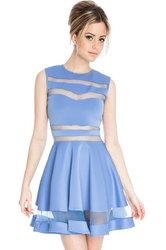 Mesh Panel Club Skater Dress Blue