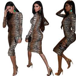 Women Printed Leopard Elastic Waist Long-Sleeve Dress