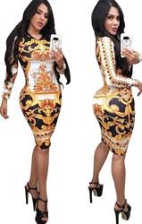 Gold O-neck Long Sleeve Women Bodycon Print Dress