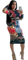 Black O-neck Long Sleeve Women Bodycon Print Dress
