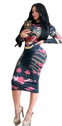 Hot Print Dress Front With Zipper Nightclub Dress Black