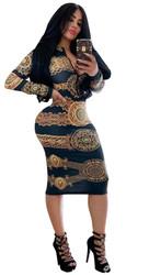 Hot Print Dress Front With Zipper Nightclub Dress Black Gold