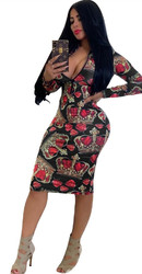 Black Sexy  Long Sleeve Bodycon Print Dress With Zipper