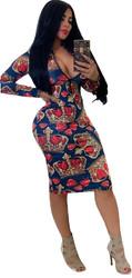 Royal Blue Sexy  Long Sleeve Bodycon Print Dress With Zipper