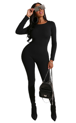 Women O-neck Black Solid Long Sleeve Jumpsuits