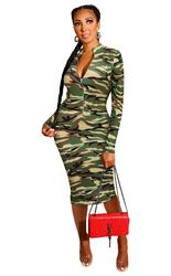 Print dress Zipper Front Long Sleeve Skinny Dress Green