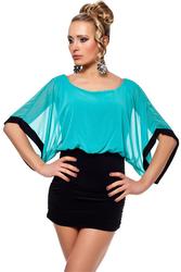 Wholesale Batwing-sleeved Blouse Mini Dress Blue