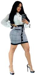 Striped Skirt Checkered Dress Fashion Women Office Dress Mini Dress
