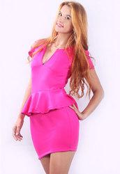 U-neck OL Peplum Dress