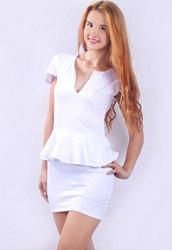 U-neck OL Peplum Dress White