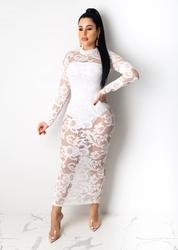 White Caged Long Sleeve  Lace Bodycon Dress O-neck Bodysuit Dress
