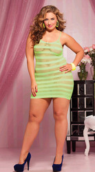 Alluring Green Net Babydoll without G_string