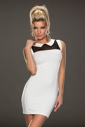 Wholesale Sexy Small-lapel Mesh Woman Dress White