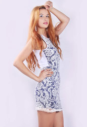 White Lace Overlay Two-tone Vintage Dress