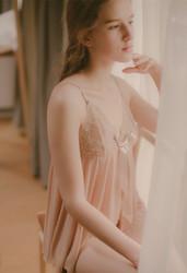 2017 Women Deep V Neck Lace Sexy Lingerie Bowknot Transparent Sleepwear Open Back Chemises Apricot