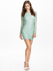 Open back long sleeve lace women dress light green