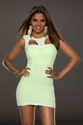 Fluorescent Green Fully Lined Lace Bodycon Dress