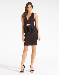 Fashion New Arrival Sexy Belted V-Neck Peplum Dress Clubwear Black