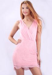 New Arrival Sexy V-neck Lace Bodycon Mini Dress Pink