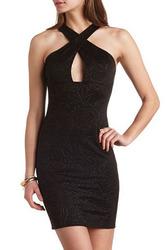 Black Rose Embossed Cross Neck Mini Bodycon Dress