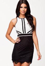 Lace Overlay Black&White Vintage Dress