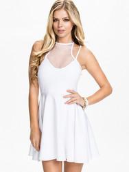 O-Neck women white skater dress