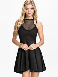 O-Neck women black skater dress