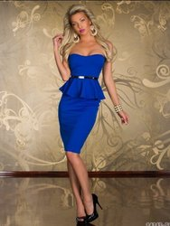 New Arrival Sexy Belted Peplum Dress In Blue