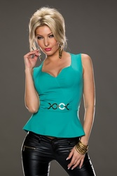 Flouncing Club Top with Gold Rings Green