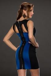 Emerald Accent Color block Hollow-out Back Mini Dress Blue