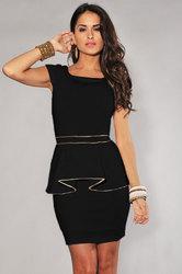 Ivory Gold Trim Peplum Dress Black