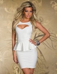 White Hollow-out Chest Peplum Dress