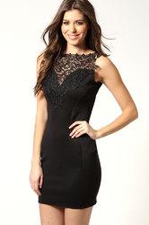 Charming sexy lady lace club dress Black