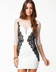 Long sleeve white sexy dress with black lace