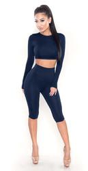 Long Sleeves Crop Top Skinny Jumpsuit