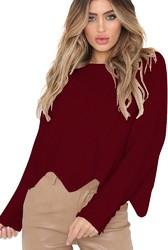 2018 girl O-neck irregulate hem loose sweater
