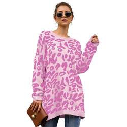 Women Leopard print knitted pull over sweaters Pink