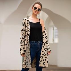 Women Khaki Leopard Print Long Cardigan