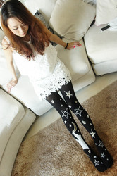 Black long stocking with stars printed