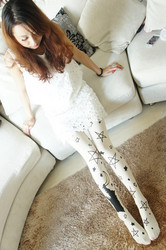 White long stocking with stars printed