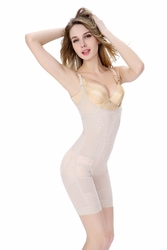 Women Sexy Solid One Piece Lace Shapewear Apricot
