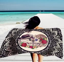 Sugar Skull Beach Towel White