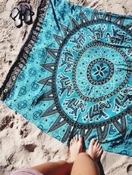 Blanket Throw Turkish Printed Beach Towel Blue