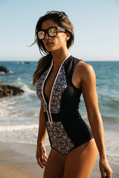 2017 Women's One Piece Zipper Retro Print Bikini Push Up