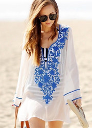 2017 Women's Embroidery Long Sleeve Pompom Beach Cover up Tunic Dress Blue
