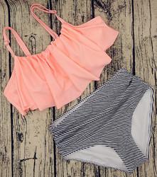 2017 Women Ruffle Cold Off Shoulder Print 2 Piece Swimsuit Bikini Set Pink