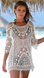 Women Knitted Cut-out Beach Blouse Beach Cover Up Dress