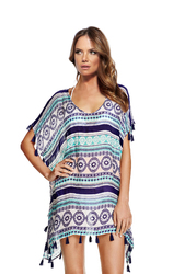 Loose Tribal Print  Bohemian Beachwear With Tassel Trim
