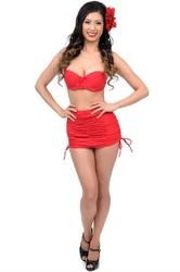 Plus Size Sexy High Waisted Wrinkle Bikini Red