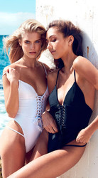 Black V-neck Snap Button Front One Piece Swimsuit with removable BRA